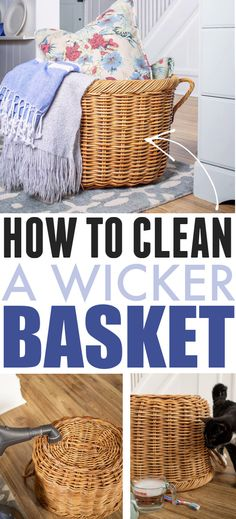 How to Clean Wicker Baskets | The Creek Line House Diy Cleaners, Cleaners Homemade, Large Baskets, Wicker Baskets, House Cleaning Tips, Cleaning Hacks, Cleaning Checklist, Cleaning Solutions, Window Cleaner Recipes