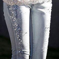 Beaded Jeans | Lady-Jeans-Pants-Beaded-Pencil-Pants-Denim-Jeans-Women-Trousers-Light ...