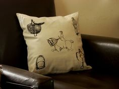 Linen Pillow with Sidesaddle Designs