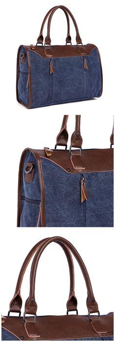 Classic Large Capacity Canvas Travel Luggage Weekend Duffel Shoulder Handbag Bagail.com