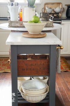 Marble Kitchen Island Upcycled From IKEA Beckvam Kitchen Cart.
