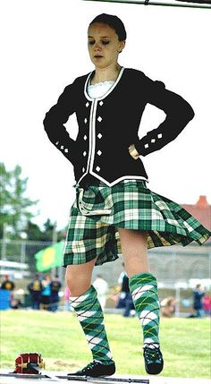 Kilt with black jacket #Menzies #Green #Tartan