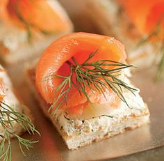 Smoked Salmon & Dill Mascarpone Toasts.  Would also be good on pizza dough.