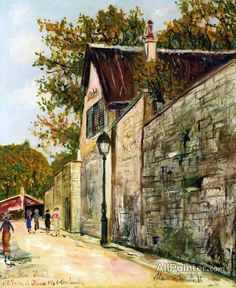 Maurice Utrillo The Rue Saint-vincent And The House Of Henri Iv In Montmartre oil painting reproductions for sale