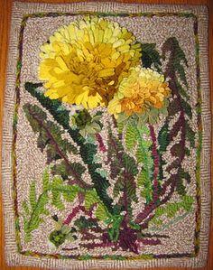 Amazing Dandelion hooked rug