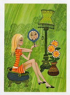 Postcard big eyed doll vintage 70s. Illustrator Barraguer. Mod girl looking in…