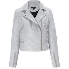 Ziggy Leather Biker (21.040 RUB) ❤ liked on Polyvore featuring outerwear, jackets, grey, grey moto jacket, real leather jackets, motorcycle jacket, moto jacket and leather biker jackets
