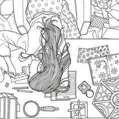 Instagram media daria486 - Sincerely yours, Daria. ✒️. #러브레터 ❤️ #컬러링북 #색칠공부 #펜화 #스케치 #드로잉 #편지 #일러스트 #소녀 #힐링 #시간의정원 #시간의방#송지혜작가 #Colouringbook #coloringforadults #Coloringbook #colouringin #sketch #art #drawing #illust #linework #art #girl #DariaSong #TheTimeGarden #thetimechamber #books #letter #loveletter