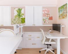Feminine work offices. Coastal work office, blush office Office Decor, Home Office, Monkey Business, Offices, Coastal, Blush, Feminine, Inspiration, Furniture