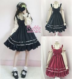 Sweet Lolita Elegent Gothic Bow Princess Vintage Dress Moe Long Sleeve#84-C663