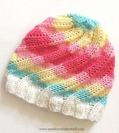 Knitting Pattern Swirly waves Beanie Includes FLAT and ROUND Knitting Option Adult sizes English Language PDF. Sport Weight Preemie