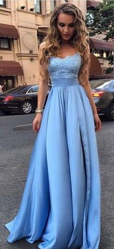 Elegant Sky Blue Prom Dresses Lace Side Slit A-line Evening Gowns