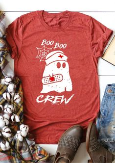 Halloween Boo Boo Ghost Crew T-Shirt Tee - Brick Red # Source by ootdchicdresses dresses Halloween Boo, Halloween Shirt, Spirit Halloween, Halloween Outfits, Holidays Halloween, Halloween Crafts, Halloween Decorations, Halloween Costumes, Halloween Ideas