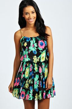 Lori Plaited Strap Floral Sundress at boohoo.com