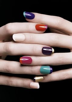 Colorful French Manicures #nails