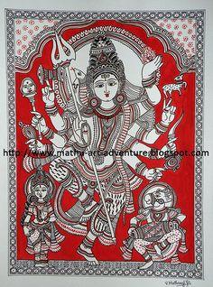 Kalamkari = kalam + kari kalam means pen and kari means craftmanship , so Kalamkari means drawing with pen. But here I'm not discussing. Madhubani Art, Madhubani Painting, Kalamkari Painting, Mysore Painting, Indian Folk Art, Indian Art Paintings, Mural Painting, Mural Art, Hindu Art