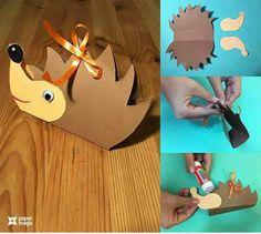 hedgehog craft for preschool Fall Paper Crafts, Autumn Crafts, Summer Crafts, Diy And Crafts, Crafts For Kids, Autumn Art, Diy Craft Projects, Projects To Try, Mushroom Crafts