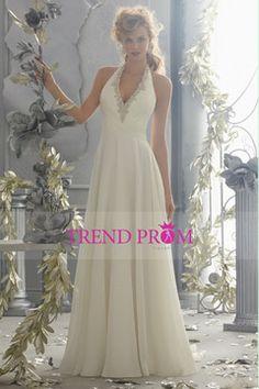 2014 Halter Beaded Neckline Ruffled Bodice Wedding Dress A Line With Long Chiffon Skirt $169.99 TDPPBAFK1P - TrendProm.com