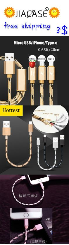 0.65ft High Quality #Nylon Braided Micro #USB #Cable Fast #Charge #Cable Data Sync USB #Cable #Cord for iPhone Android #Type-C