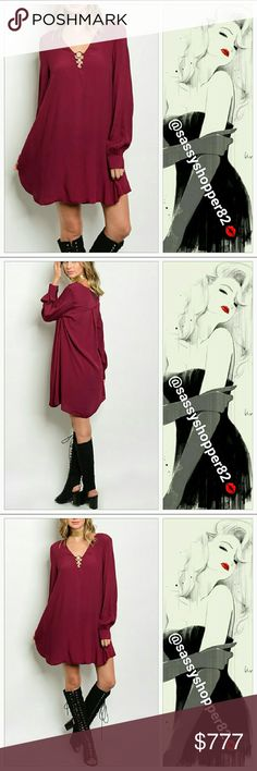 💋JUST AREIVED💋'Red Wine' tunic dress Brand new,Boutique   Goregous red wine/burgundy tunic dress. This dress features long sleeves, and metal ring details at neckline. Comfortable tunic style fit. Pair with boots and a denim jacket for a causal look or dress this beauty up with heels and a sassy cardigan! Perfect for the season!  100%polyester Dresses