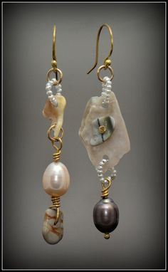 ❥ Juxaposition~ Pebble Pearl Earrings 18k Gold 14k Gold Fine Silver by Kosmimata