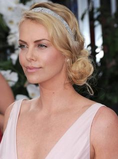 Beautiful side-swept messy bun with studded headband - perfect for  spring/summer or tropical wedding! Charlize Theron - 2012 Golden Globes