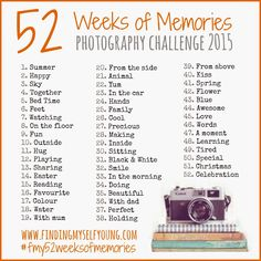The new 2015 prompts for Finding Myself Young's 52 Weeks of Memories photography challenge. Memories Photography, Photography Lessons, Photography Projects, Photography Tutorials, Photography Photos, Digital Photography, Inspiring Photography, Summer Photography, Beauty Photography