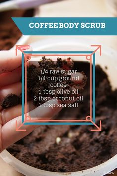 THE #COFFEE BODY SCRUB Caffeine tightens loose skin, so this scrub acts as an instant-slimmer.  1/4 raw sugar 1/4 cup ground coffee 1 tbsp olive oil 2 tbsp coconut oil 1 tbsp sea salt Blend all ingredients and place in an air-tight container. Massage all over body in an upward motion before rinsing off. Can be stored for up two months.