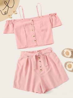 Button Front Cold-shoulder Cami Top With Tie Front Shorts Cute Comfy Outfits, Cute Girl Outfits, Cute Outfits For Kids, Cute Summer Outfits, Outfits For Teens, Pretty Outfits, Trendy Baby Clothes, Girls Fashion Clothes, Teen Fashion Outfits