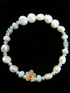 Little Girl's Hibiscus and Larimar Bracelet - Handmade Caribbean Larimar, freshwater pearls girls bracelet, baby girl bracelet, Swarovski
