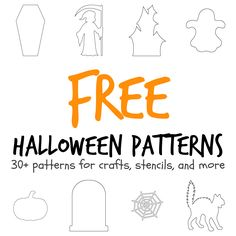 More than 30 Halloween-themed patterns including a coffin, haunted house…