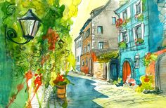 Summer Street Watercolor jigsaw puzzle in Street View puzzles on TheJigsawPuzzles.com