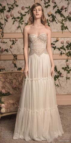 dana harel 2018 bridal strapless sweetheart neckline heavily embellished bodice bohemian a line wedding dress sweep train (8) mv -- Dana Harel 2018 Wedding Dresses