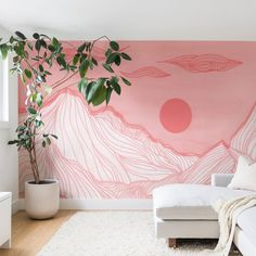 35 Brilliant Living Room Mural Decorating Ideas - Don't think you can afford murals? Don't think you can handle a mural design on your own? How wrong could you be! There's always a way to achieve the . Wall Murals Bedroom, Mural Wall Art, Mural Painting, Bedroom Decor, Painted Wall Murals, Tile Murals, Bedroom Sets, Mountain Mural, Pink Walls