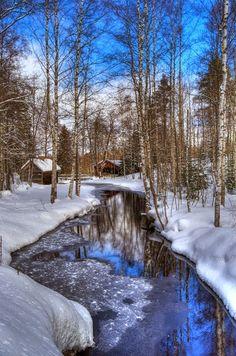 Frozen river in Vesilahti, Finland