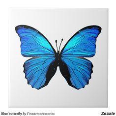 Blue butterfly Ceramic Tile