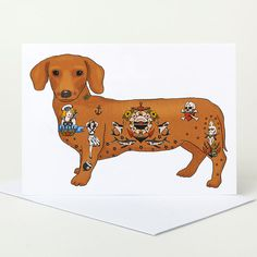 Tattoo Sausage Dog Greeting Card dachshund by SophieParker on Etsy