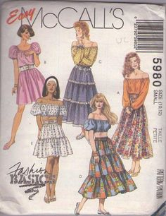 MOMSPatterns Vintage Sewing Patterns - McCall's 5980 Retro 90's Sewing Pattern FESTIVE Easy Bohemian Gypsy Puff Sleeve Off the Shoulders Crop or Peasant Top, Tiered Flared Skirt