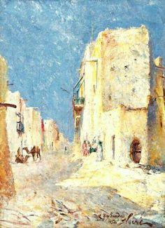 Algérie - Peintre Francais Maxime NOIRÉ (1861-1927), huile sur toile 1892 , Titre : Ruelle animée de Bou-Saada.