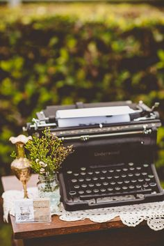 A vintage typewriter is an awesome way to have your guests leave messages to the happy couple. Typewriter and props available for hire from Remember When Vintage Prop Hire. Photo by Bonnie Jenkins Photography