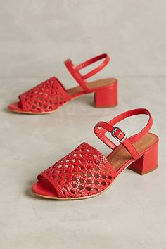 Red Shoes, Naguisa Effaby Heels #anthropologie