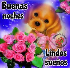 Buenas Noches imagen #10262 - Buenas noches, Lindos sueños - Cachorro, Flores, Lindos Suenos, Rosas.