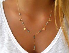 Turquoise Lariat Necklace Layering Necklace 14K di annikabella