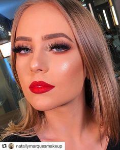 ideas party makeup tutorial red lips make up Red Lips Makeup Look, Glam Makeup, Bridal Makeup, Hair Makeup, Beauty Makeup, Gorgeous Makeup, Love Makeup, Makeup Inspo, Makeup Inspiration