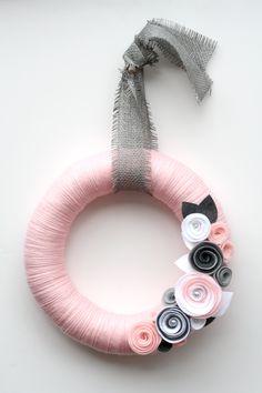 "Beautiful Wreath - 14"" Pale pink yarn wreath with gray and white felt flowera $42.00"
