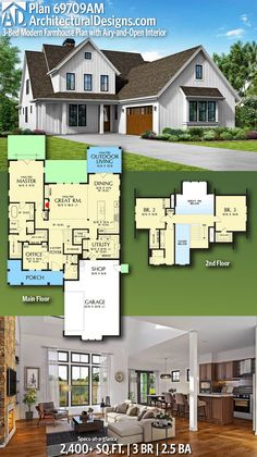 Architectural Designs House Plan 69709AM gives you 3 bedrooms, 2.5 baths and over 2,400+ sq. ft. of heated living space. Ready when you are! Where do YOU want to build? #69709am #adhouseplans #farmhouse #modernfarmhouse #contemporary #architecturaldesigns #houseplans #architecture #newhome #newconstruction #newhouse #homeplans #architecture #home #homesweethome