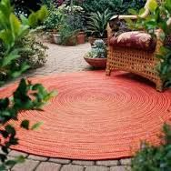 Carpet for Your Patio - Throw down a rug. There are more and more high-quality, weather-resistant rugs for use outdoors. They come in a variety of colors and styles, so you can find one to suit your tastes. Select rugs made from recycled materials and be Round Outdoor Rug, Indoor Outdoor, Outdoor Rooms, Outdoor Gardens, Outdoor Living, Outdoor Decor, Outdoor Carpet, Outdoor Patio Rugs, Outdoor Retreat
