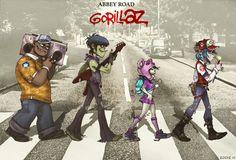 Gorillaz on Abbey Road by *EddieHolly on deviantART