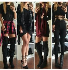 Rock fall outfits, trendy black outfits, cute punk outfits, edgy summer out Rock Fall Outfits, Cute Punk Outfits, Trendy Black Outfits, Mode Outfits, Fall Winter Outfits, Casual Outfits, Crazy Outfits, Layering Outfits, Edgy School Outfits
