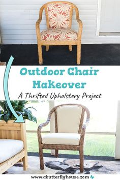 Learn how to refinish an outdoor chair with this quick furniture before and after. Includes upholstery and how to recover piping! Diy Furniture Flip, Thrift Store Furniture, Chair Makeover, Furniture Makeover, House Projects, Garden Projects, Habitat For Humanity Restore, Butterfly House, Diy Painting